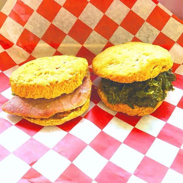 Ham & Collard Sweet Potato biscuits