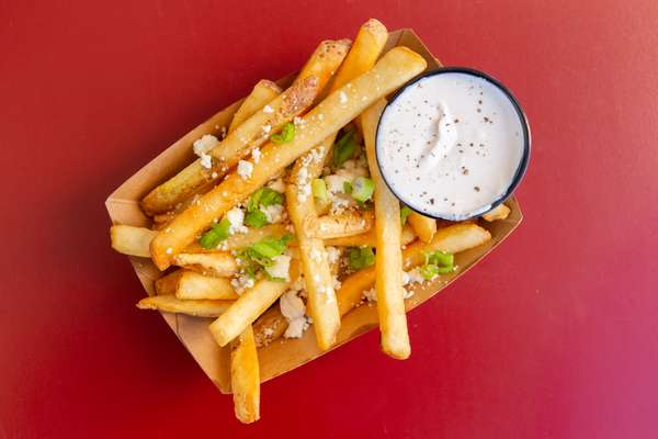 Truffle Oil. Blue Cheese, Green Onion Fries