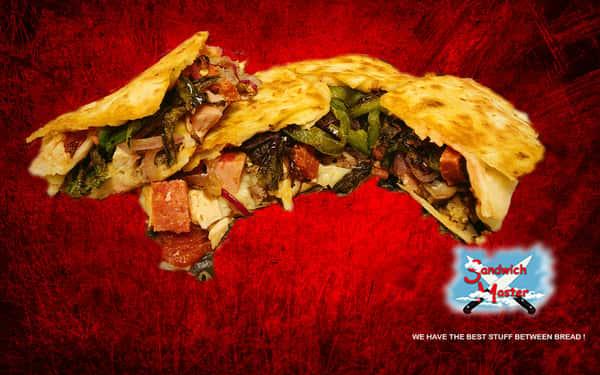 Say No to Meat Pizza Quesadilla