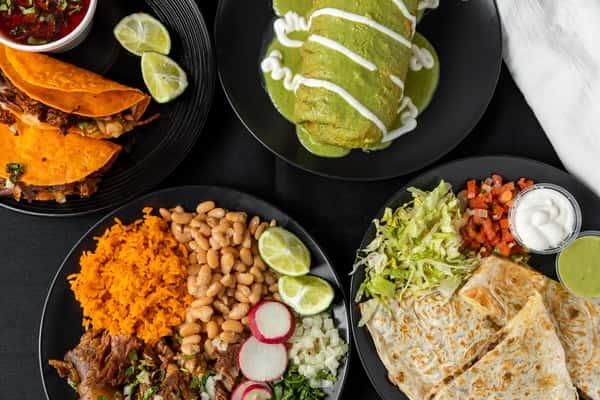wet burrito, quesadilla, rice & beans
