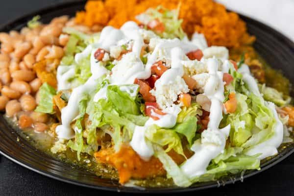 salad, beans & rice