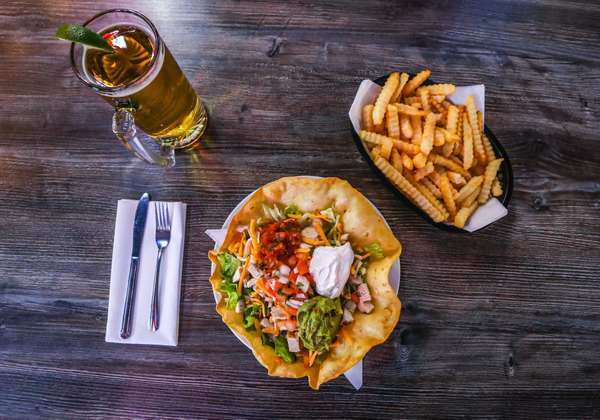 fries, beer, and salad