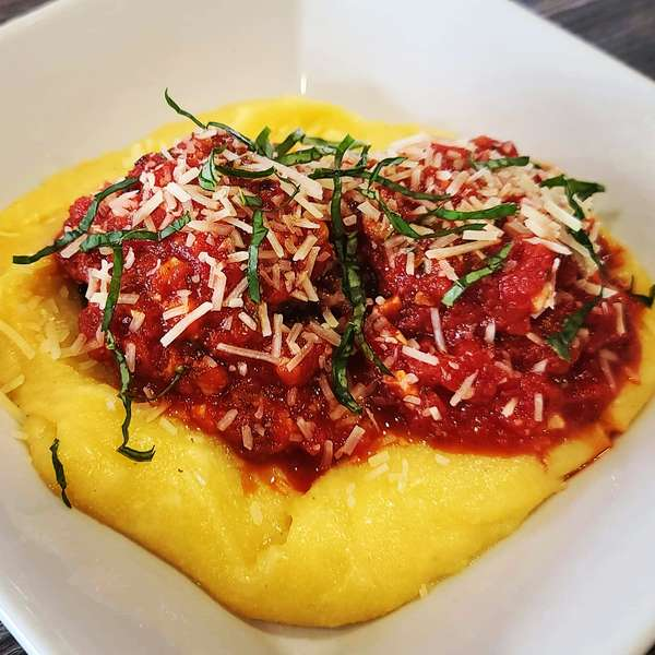 Hand Made Meatballs Slow Simmered Marinara Cheesy Polenta
