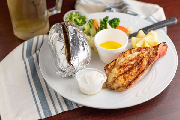 Broiled Lobster Tail with Baked Potato
