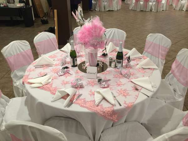 table decorated in pink
