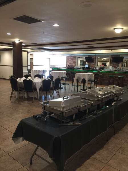 buffet tables with food