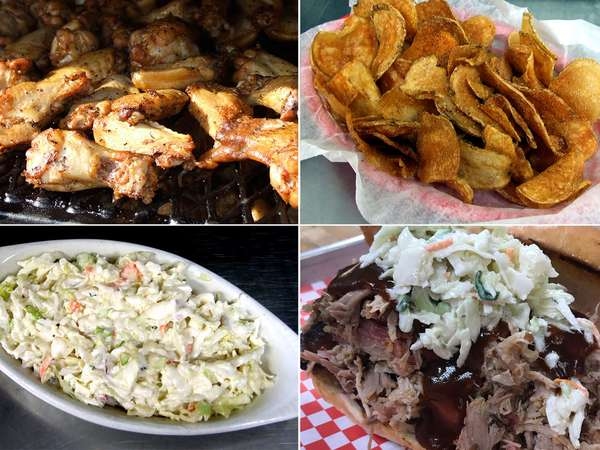 Pulled Pork Sandwich, Wings, Chili, Coleslaw & Chips