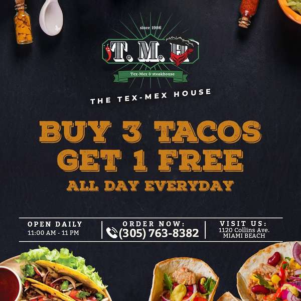 buy 3 tacos get one 1 all day everyday