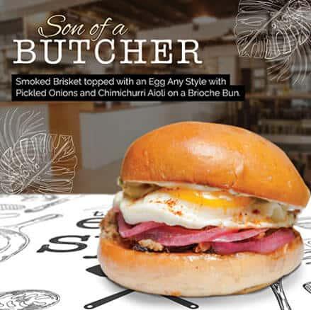 Sone of a butcher sandwich