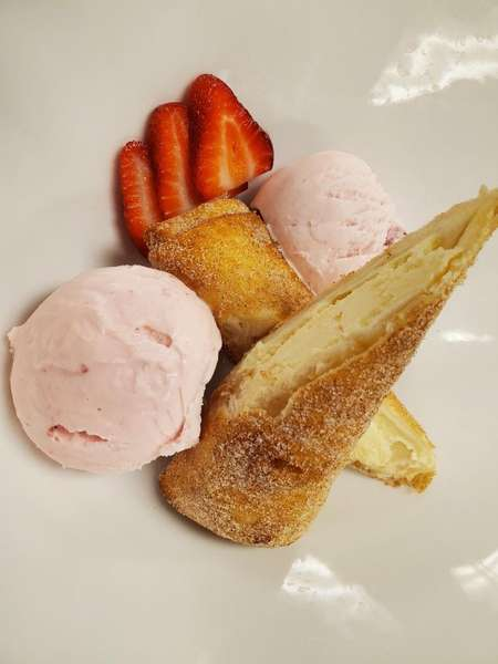 Fried Cheesecake with Strawberry Icecream