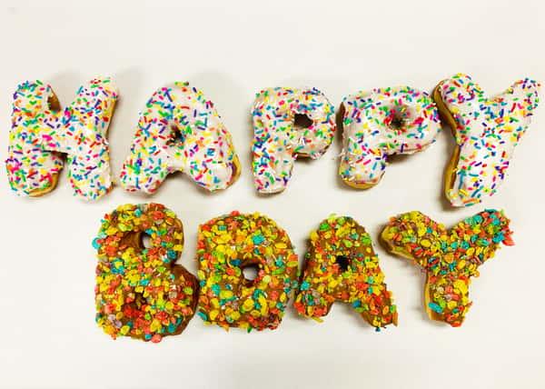 Happy Bday Letter doughnuts