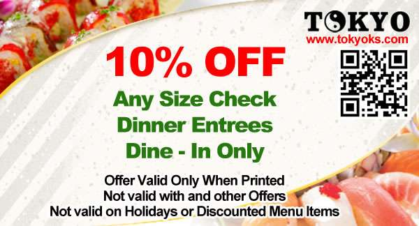 coupon 10% OFF any size check - dinner entrees - dine-in only - Our coupons are only valid when printed and are not valid with any other offers, on holidays, or on discounted menu items.