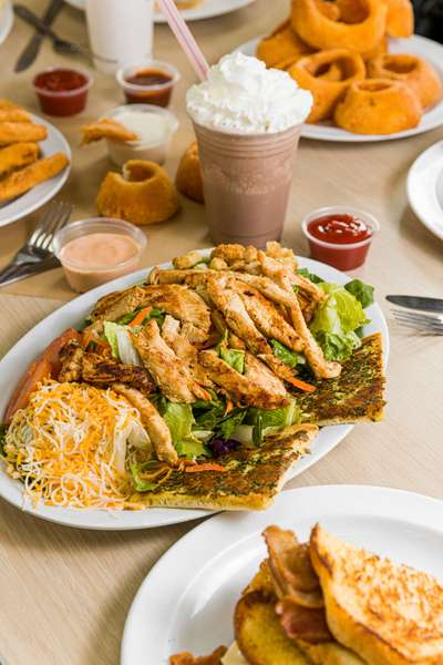 grilled chicken salad milkshake and other dishes