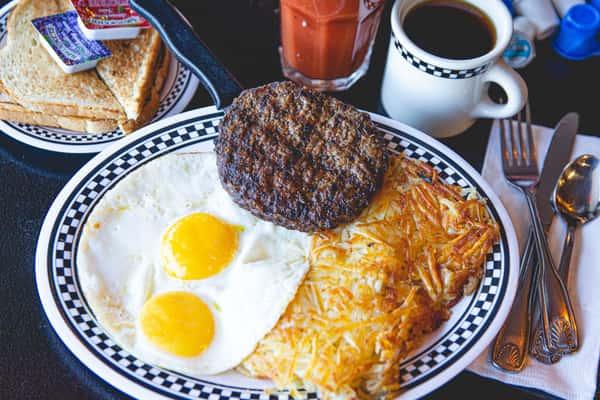 Ground Sirloin Steak & Eggs
