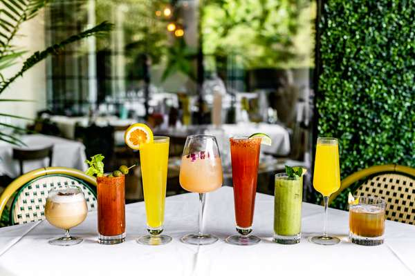 brunch cocktails on the patio