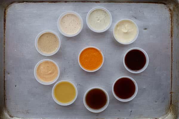 assortment of dipping sauces