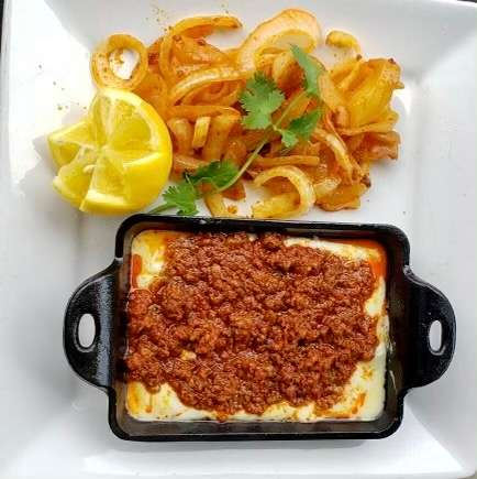 meat and cheese pan with onions