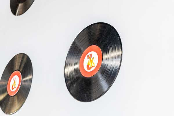 vinyl records on wall