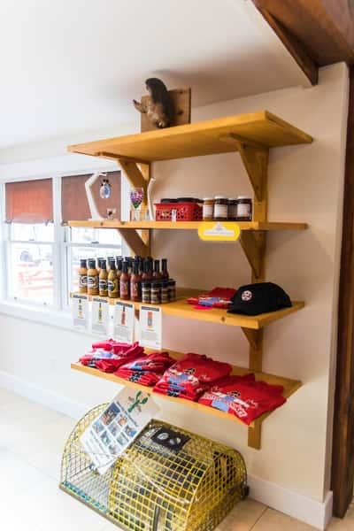 shelves of merch