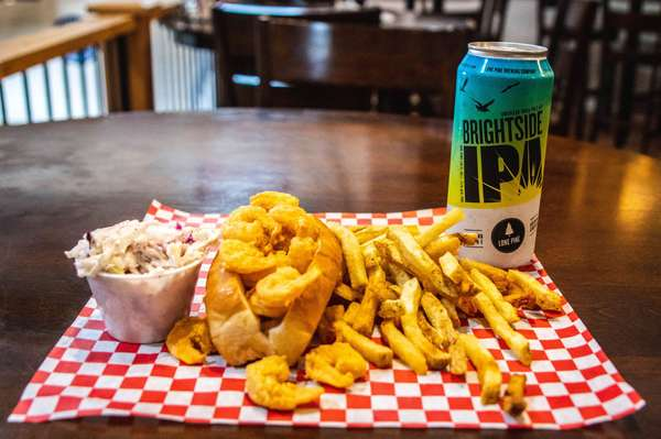 roll with fries and beer