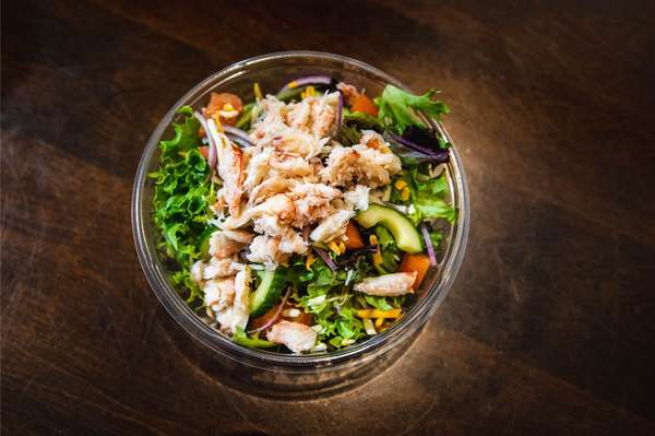 House salad topped with Fresh Crab