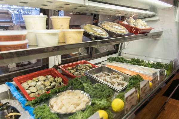inside the seafood case