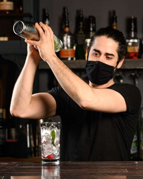 bartender shaking drink