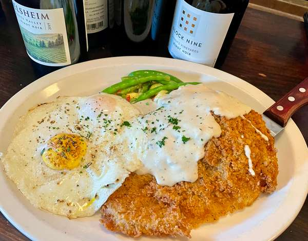 Country Fried Steak and Eggs with Cream Gravy, 2 Farm Fresh Eggs, Mashed Potatoes & a Vegetable Medley