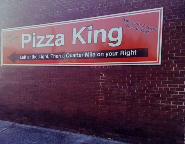 Pizza king outside sign