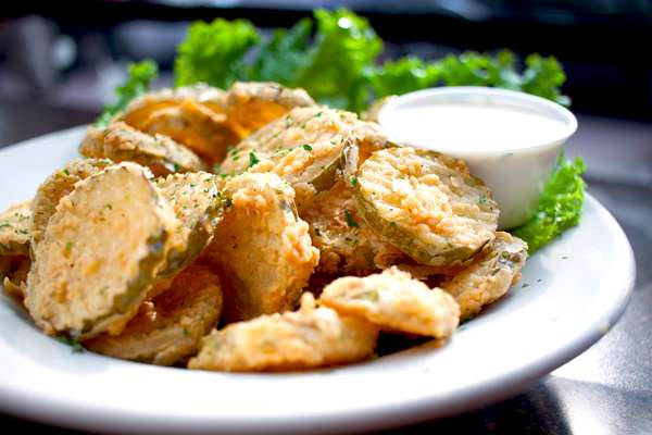 Fried Pickle Chips with Ranch