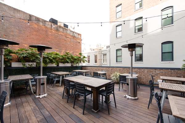 Outdoor rooftop dining