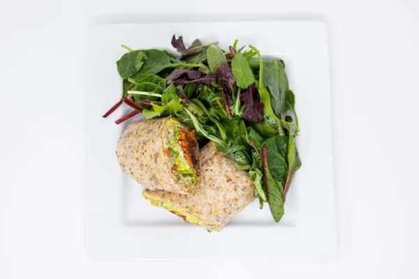Sandwich wrap and salad