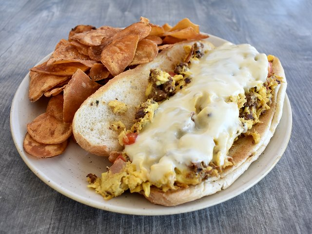 SUPER-SIZED STEAK EGG + CHEESE